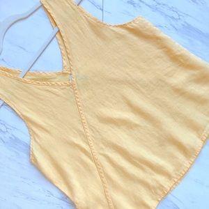 Flax   Butter Yellow Linen V-Neck Tank Top Medium